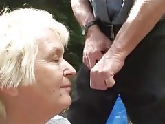 Granny, Mature, Old and Young, Outdoor, Saggy Tits