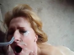 Mature blonde takes a facial