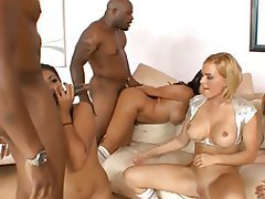 Babe, Cumshot, Group Sex, Interracial