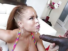 Big Boobs, Blowjob, Cumshot, Facial, Interracial