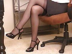 Masturbation, Brunette, Mature, Pantyhose
