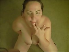 BBW, Big Boobs, Blowjob, Brunette, Facial