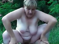 Amateur, German, Granny, Old and Young, Outdoor