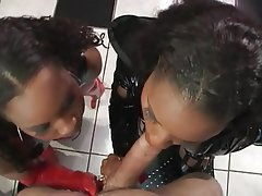 Blowjob, Femdom, Interracial, Latex
